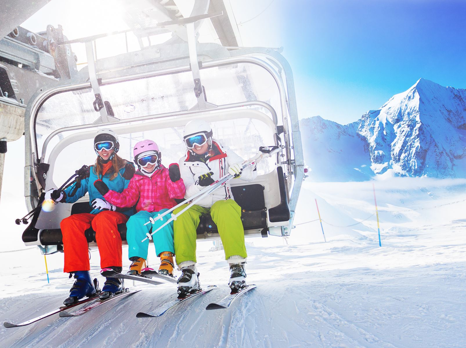 Family on Chair Lift in Winter